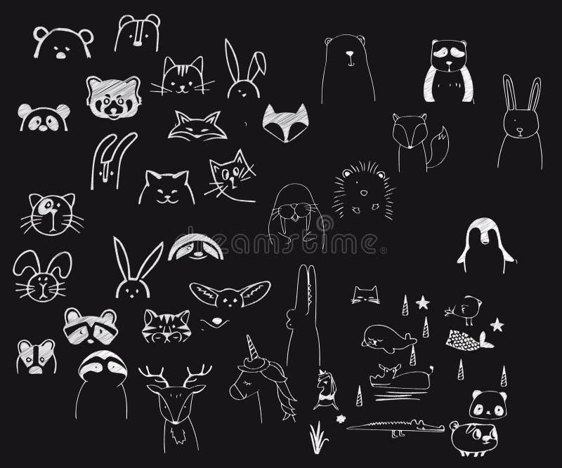 以可以使用作为家庭装饰的动物图象的形式一次乱画 库存例证