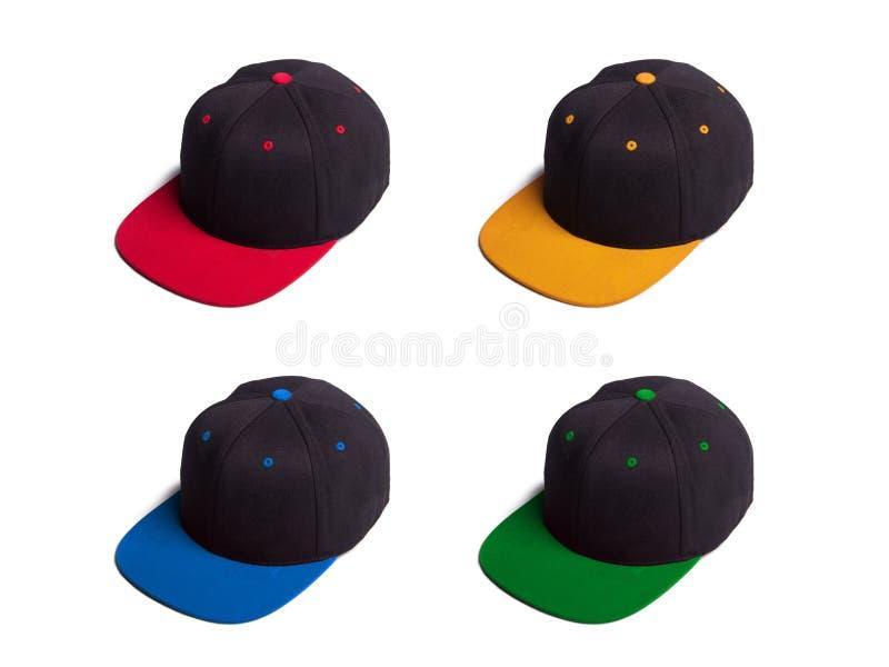 以各种各样的颜色被隔绝的套短冷期后面盖帽 免版税库存图片