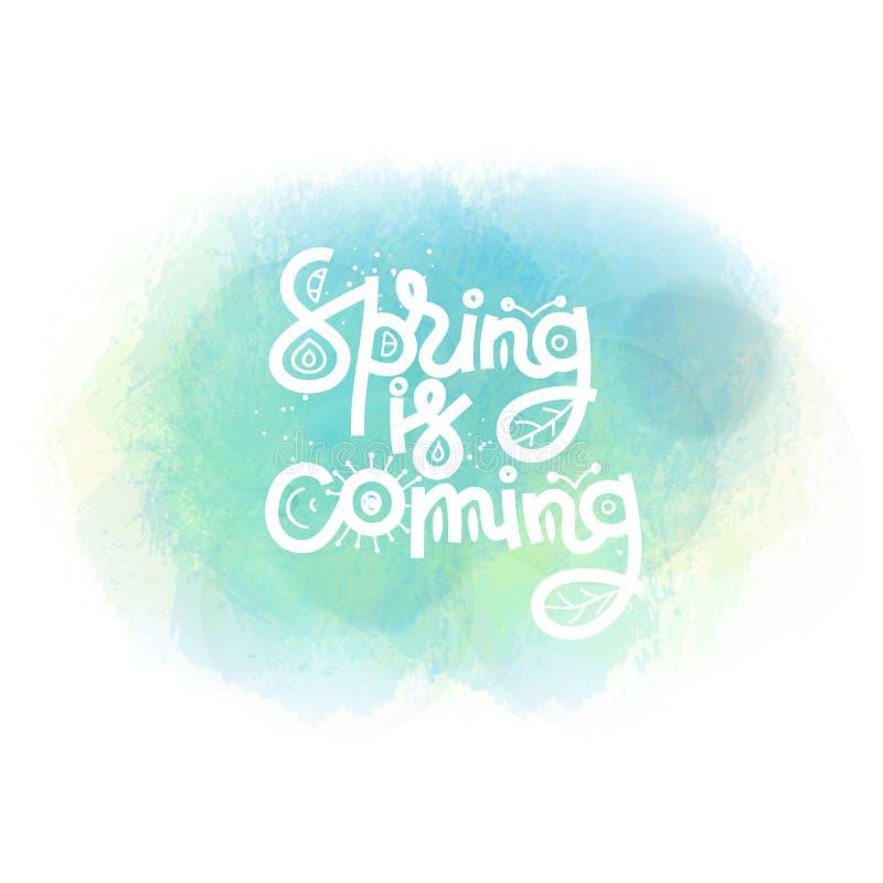 以后的春天 在水彩污点的逗人喜爱的创造性的手拉的字法 徒手画的样式 乱画 春天 皇族释放例证