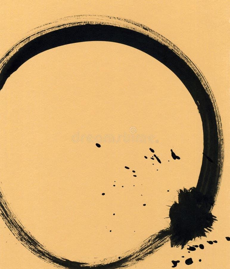 以圈子的形式黑刷子冲程 在墨水剪影手工制造技术创造的图画 皇族释放例证