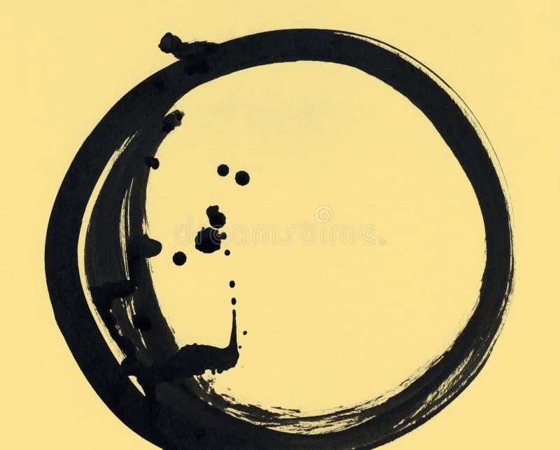 以圈子的形式黑刷子冲程 在墨水剪影手工制造技术创造的图画 向量例证