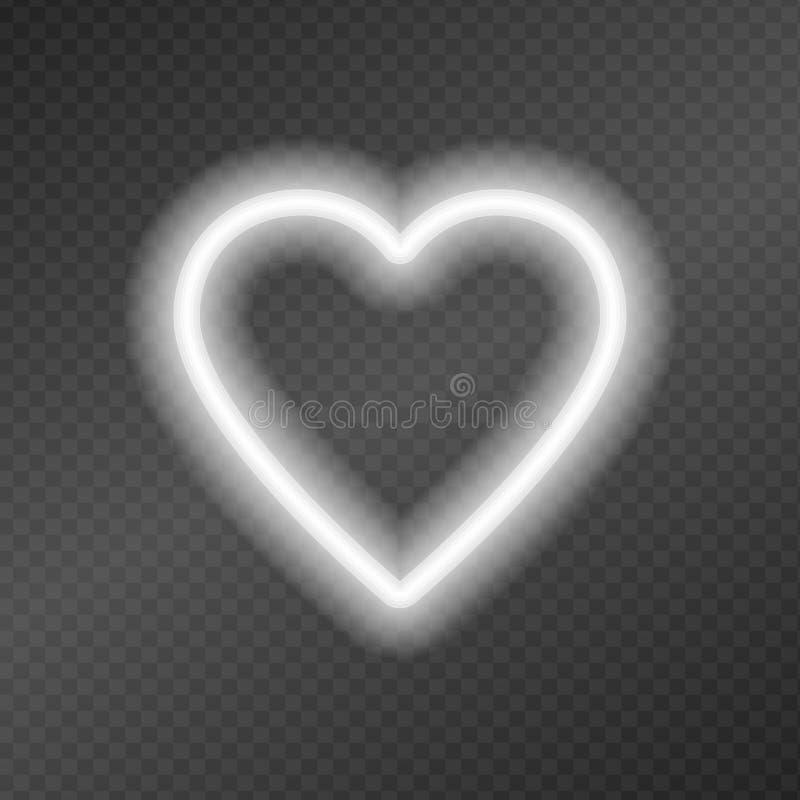 以在一个黑暗的透明度栅格隔绝的心脏的形式氖灯 向量例证