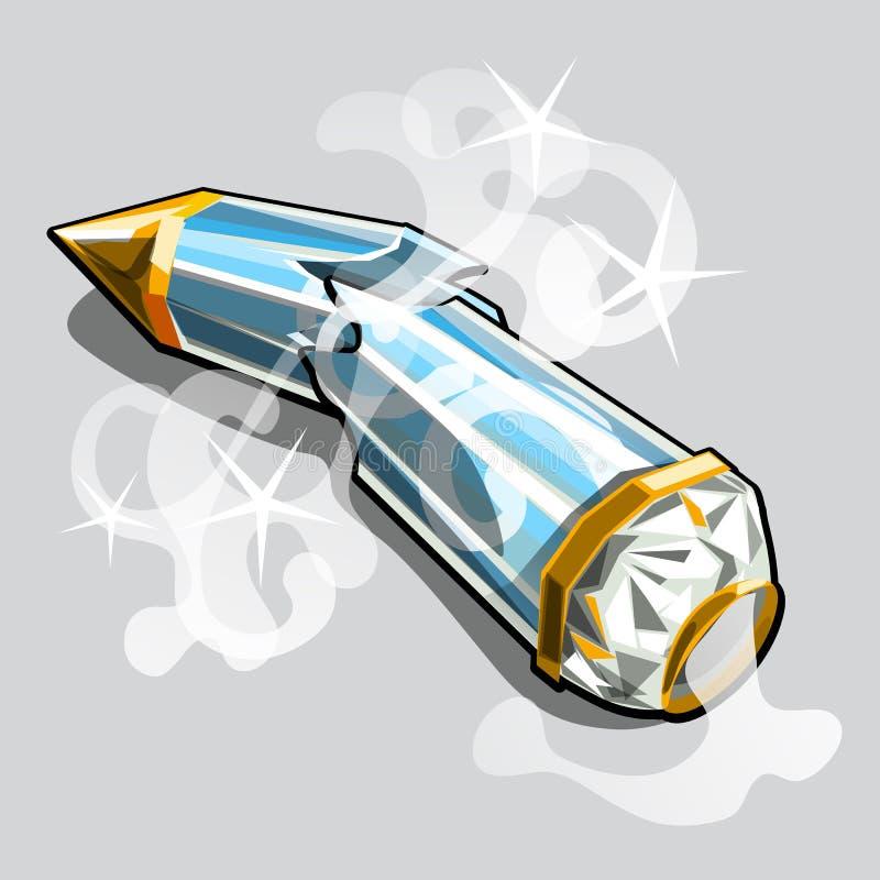以在灰色背景隔绝的铅笔的形式残破的玻璃箱子 传染媒介动画片特写镜头例证 皇族释放例证
