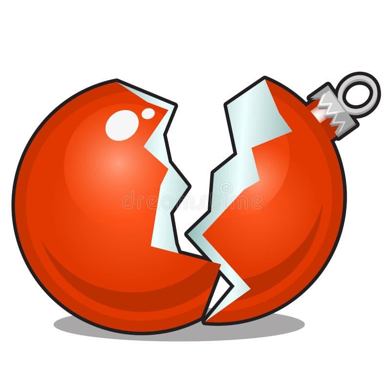 以在白色背景隔绝的一个残破的红色玻璃球的形式损坏的圣诞节玩具 传染媒介动画片特写镜头 向量例证
