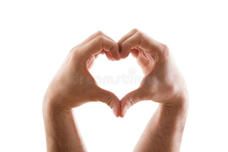 以在白色背景隔绝的心脏的形式两只手 免版税图库摄影