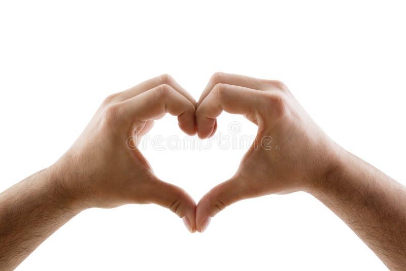 以在白色背景隔绝的心脏的形式两只手 免版税库存图片