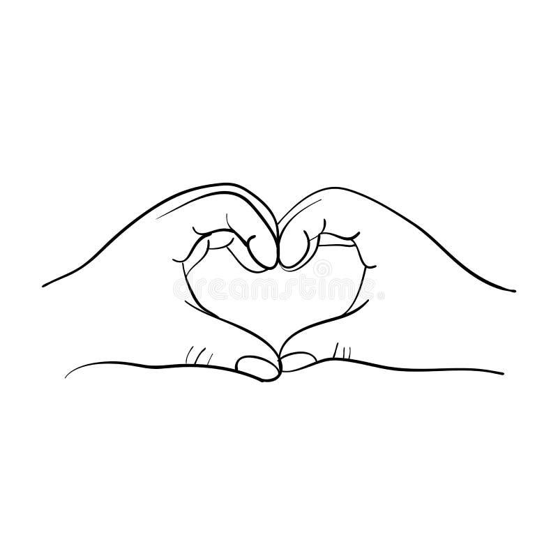 以在白色背景隔绝的心脏的形式手 概述手拉的传染媒介例证 E 库存例证