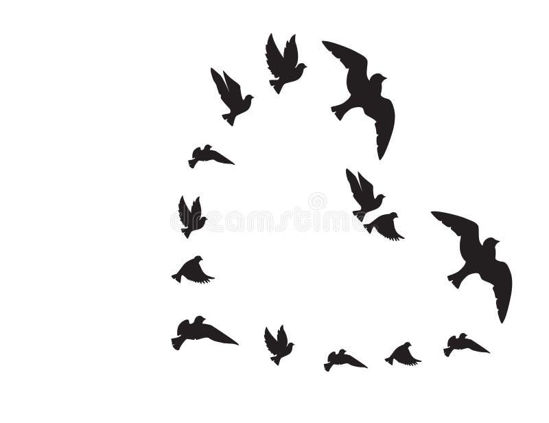以在白色隔绝的心脏的形式飞鸟剪影,传染媒介,例证 自由和爱的标志 皇族释放例证