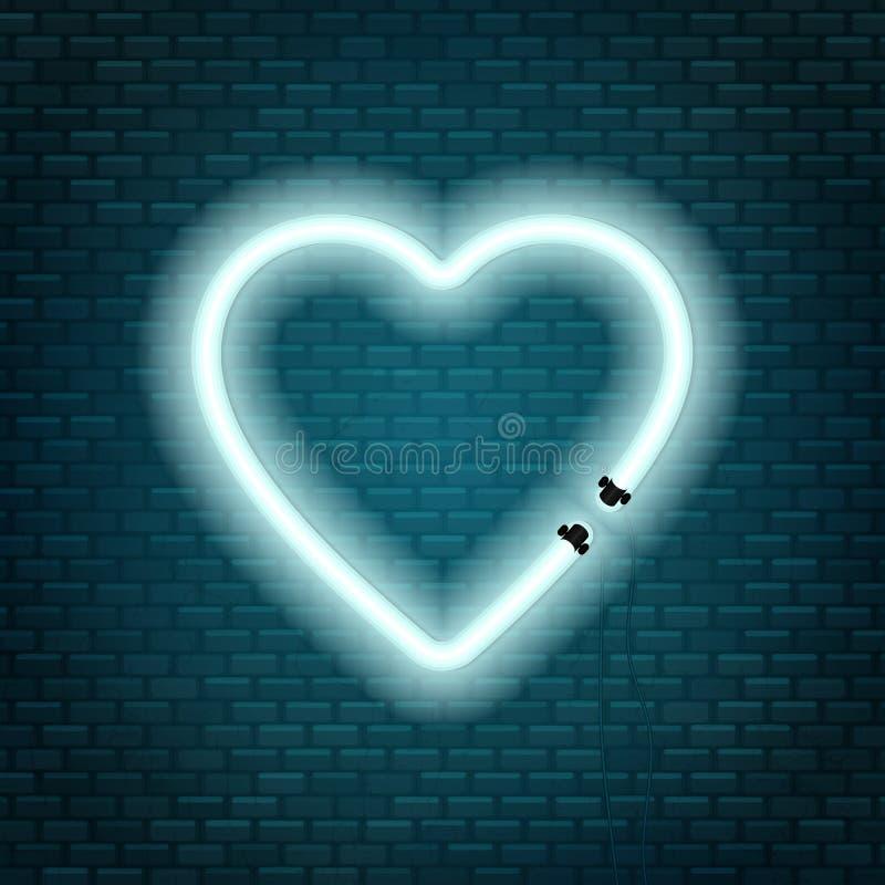 以在砖墙背景隔绝的心脏的形式氖灯 爱符号 向量例证