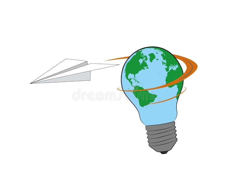 以地球的形式,纸飞机在一个电灯泡附近飞行 也corel凹道例证向量 向量例证