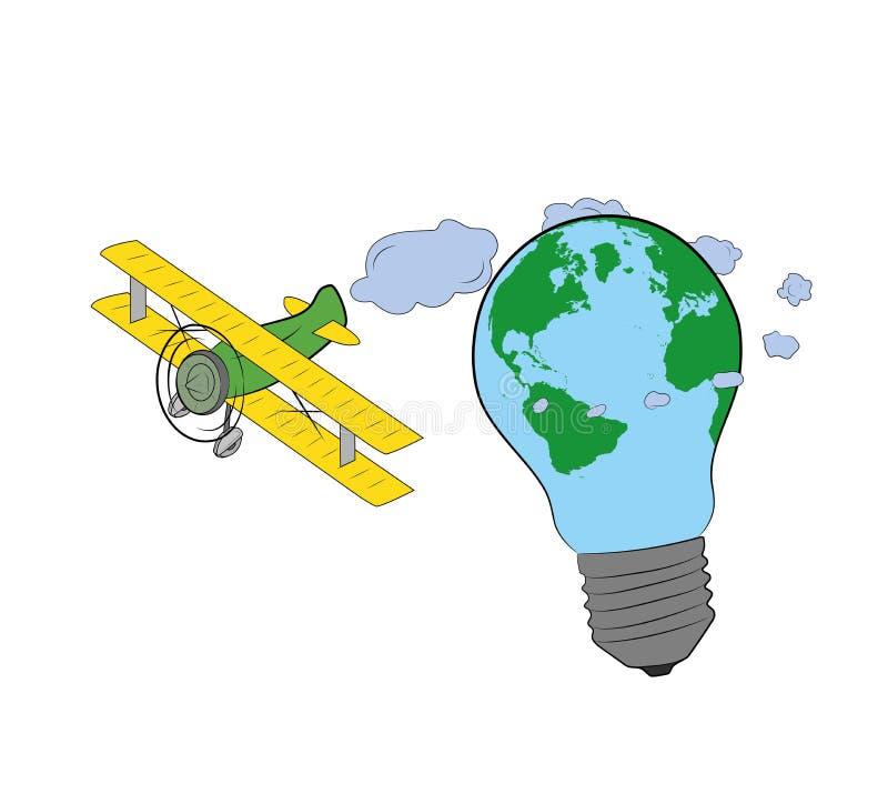 以地球的形式,飞机在电灯泡附近飞行 也corel凹道例证向量 库存例证
