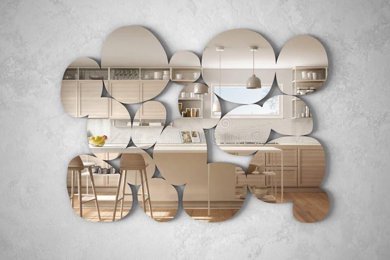 以垂悬在墙壁上的小卵石的形式现代镜子反射室内设计场面,明亮的白色和木厨房与 向量例证
