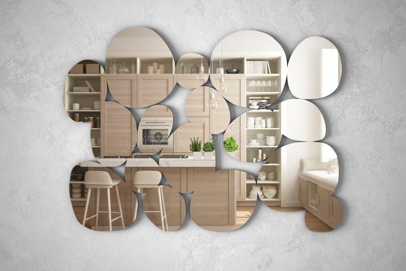 以垂悬在墙壁上的小卵石的形式现代镜子反射室内设计场面,明亮的白色和木厨房与 皇族释放例证
