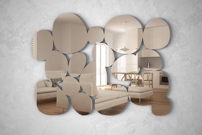 以垂悬在墙壁上的小卵石的形式现代镜子反射室内设计场面,明亮的白色和木厨房与 库存例证