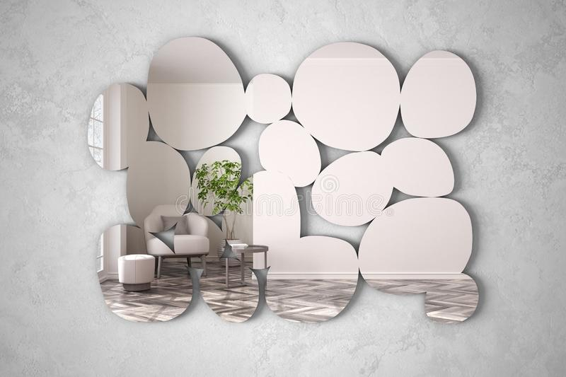 以垂悬在墙壁上的小卵石的形式现代镜子反射室内设计场面,有扶手椅子的明亮的客厅, 库存例证