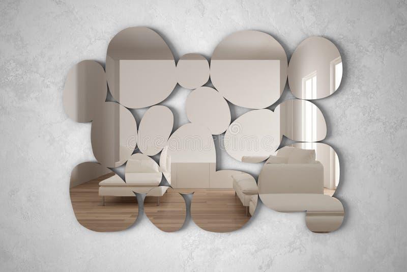 以垂悬在墙壁上的小卵石的形式现代镜子反射室内设计场面,有扶手椅子的明亮的客厅, 向量例证