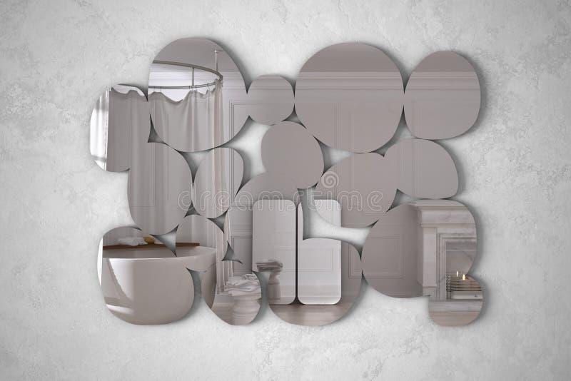以垂悬在墙壁上的小卵石的形式现代镜子反射室内设计场面,有浴缸的明亮的卫生间, 皇族释放例证