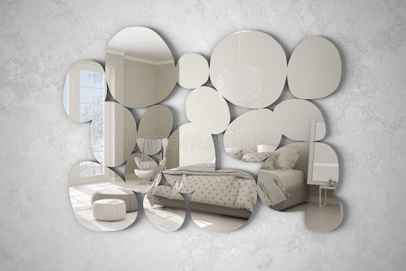 以垂悬在墙壁上的小卵石的形式现代镜子反射室内设计场面,有窗口的明亮的卧室, 皇族释放例证