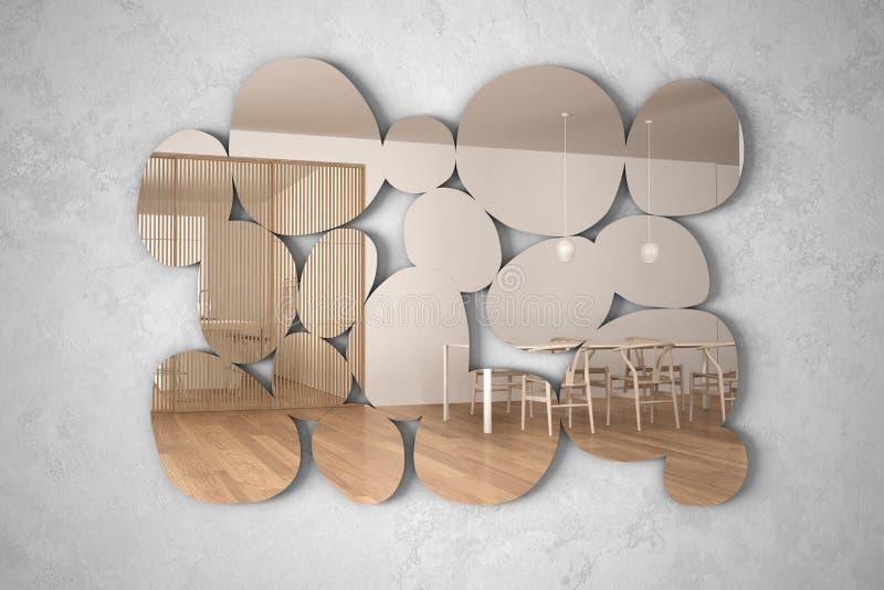 以垂悬在墙壁上的小卵石的形式现代镜子反射室内设计场面,有饭桌的明亮的客厅, 向量例证