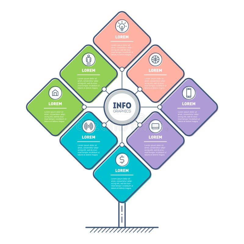 以大纲样式制作的信息图形、图表、图标和排版 与平面样式结合,轮廓设计 简单,清除 向量例证