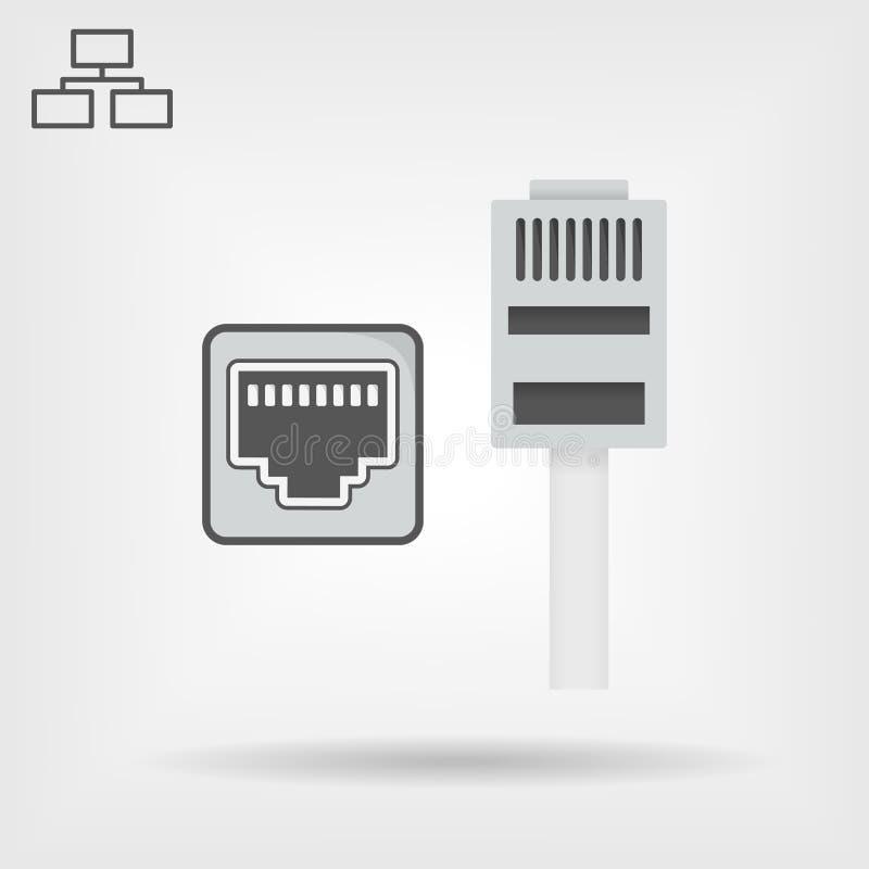 以太网电缆和口岸隔绝了传染媒介象,网络插口象,以太网连接器象 库存例证