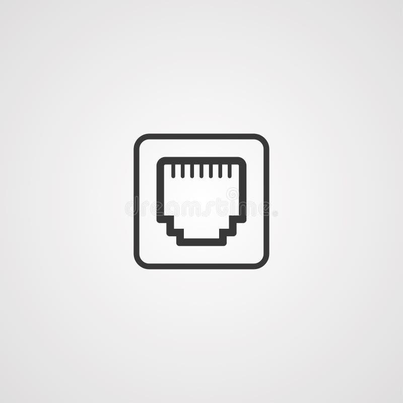 以太网端口传染媒介象标志标志 库存例证