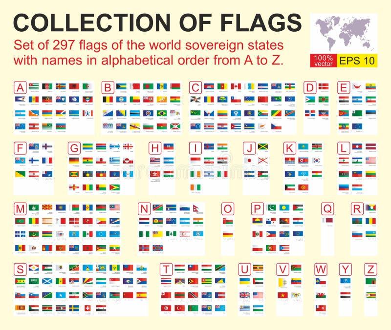 以字母顺序设置世界主权国家的297面旗子与名字从A到Z的 r 皇族释放例证