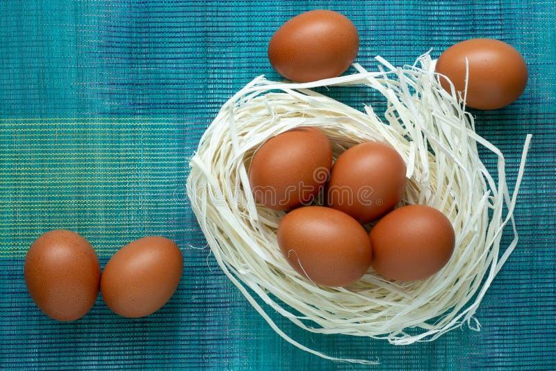 以巢的形式,鸡蛋在装饰说谎 免版税库存图片