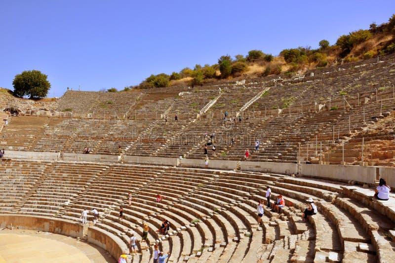 以弗所古城圆形露天剧场在伊兹密尔 图库摄影