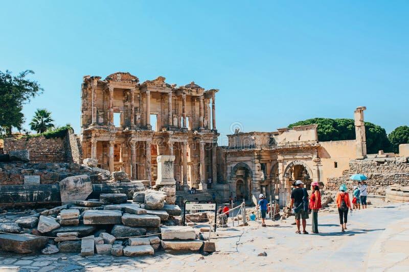 以弗所Celsus图书馆古老废墟在Selcuk,土耳其 库存图片