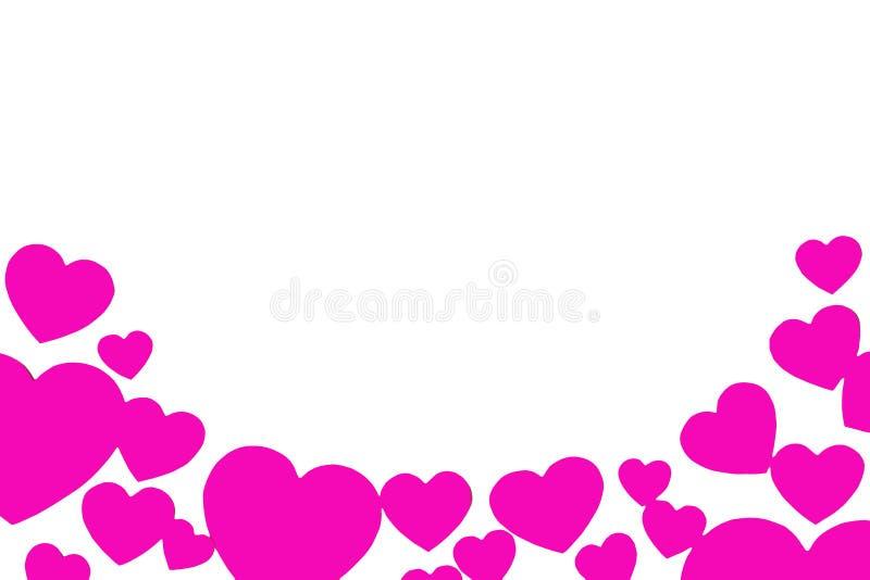 以弧的形式许多桃红色纸心脏 在白色背景的被环绕的装饰框架与拷贝空间 爱的符号 免版税库存照片