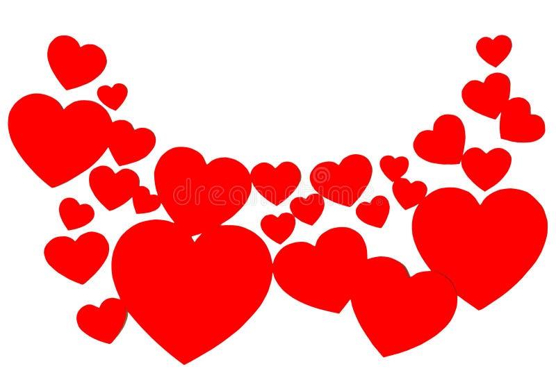 以弧的形式许多红色纸心脏 在白色背景的被环绕的装饰框架与拷贝空间 爱的符号 库存图片