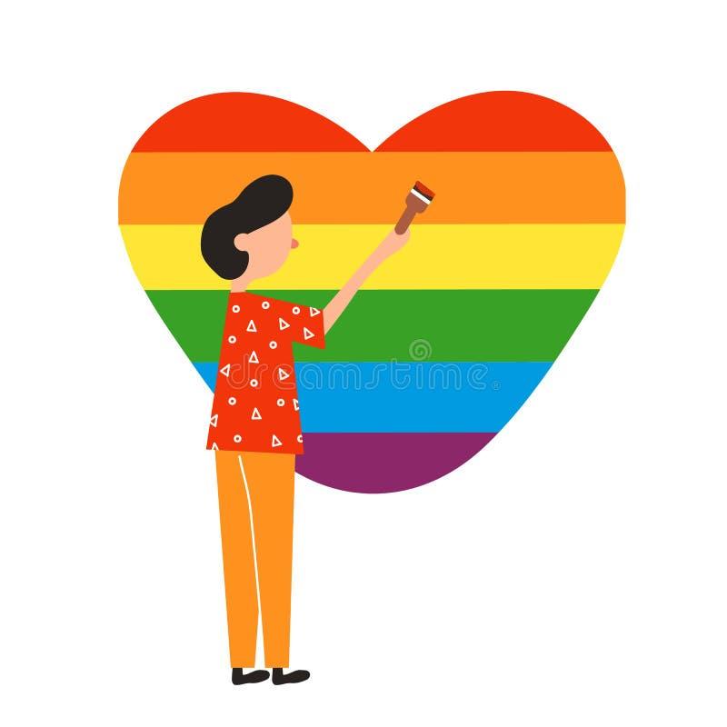 以彩虹的形式,例证同性恋者绘心脏 库存例证