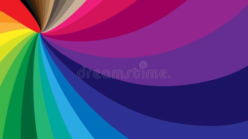 以彩虹的所有颜色的形式一个打旋的螺旋的抽象背景  EPS10 库存例证