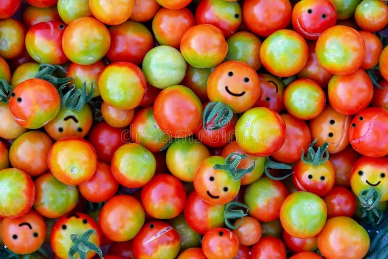 以微笑的形式很大数量的西红柿 免版税库存图片