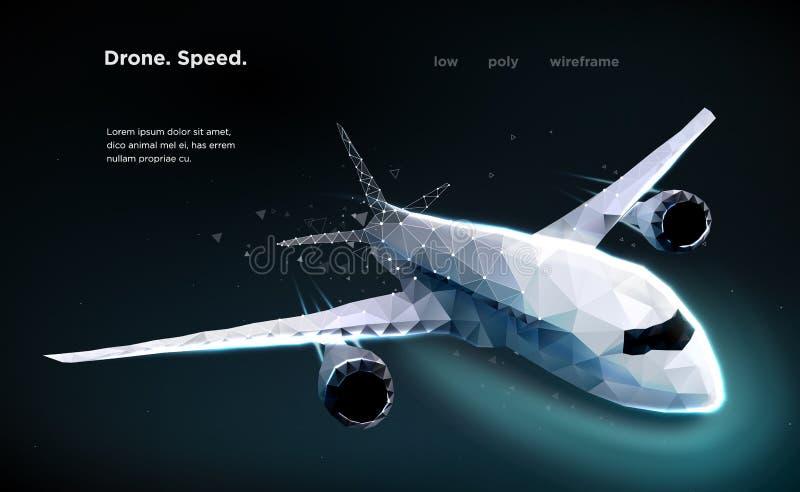 以微粒,几何艺术的形式,班机飞机加速一架飞行的班机是一个顶视图例证被执行 免版税库存照片