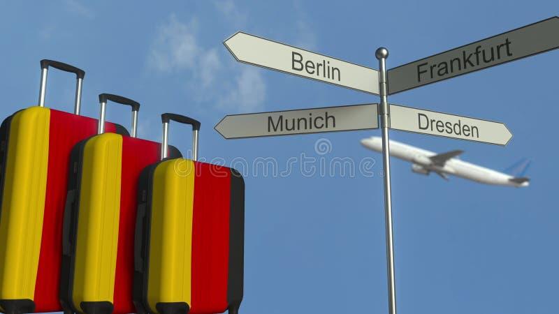 以德国、飞机和城市路标德国旅游业概念性3D翻译为特色的旗子旅行行李 向量例证