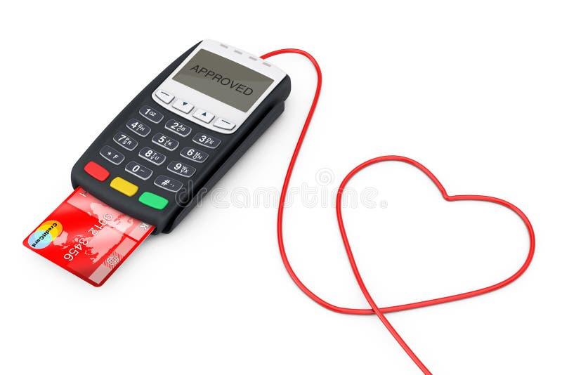 以心脏的形式信用卡支付终端导线 3d烈 皇族释放例证