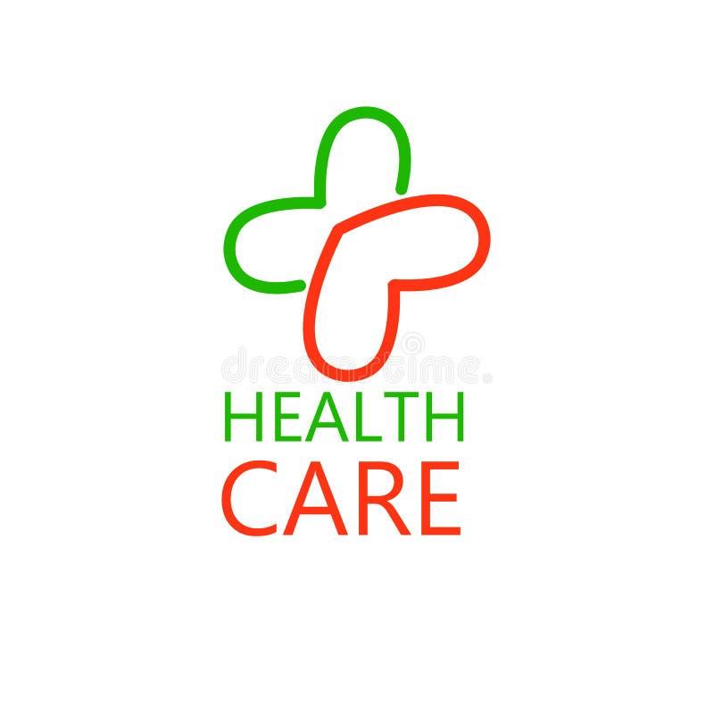 以心脏的形式十字架 诊所的商标,配药 在空白背景查出的向量 皇族释放例证