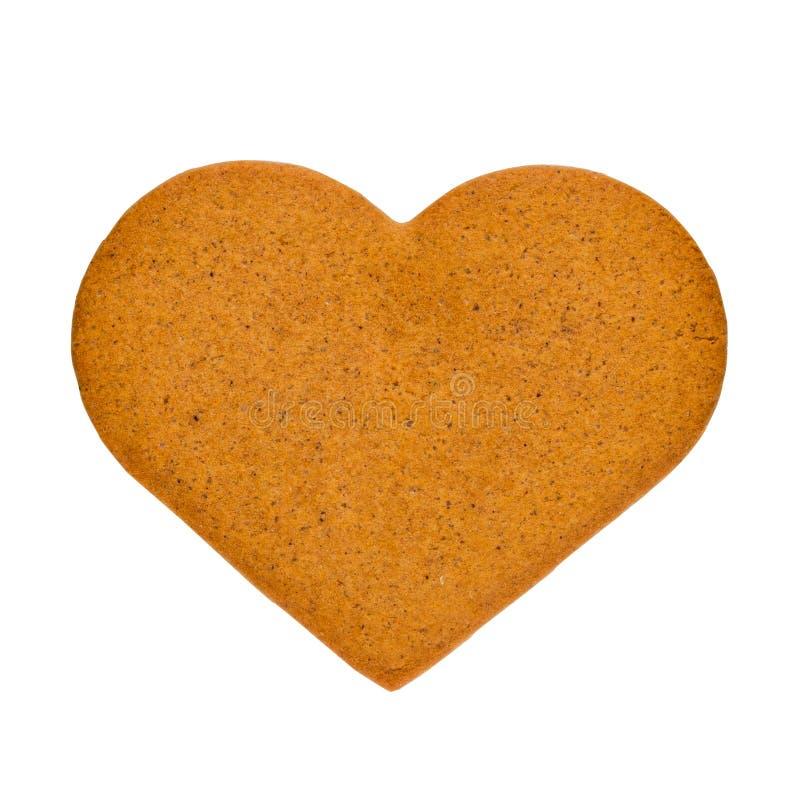 以心脏的形式姜饼曲奇饼,隔绝在白色背景 纪念品为情人节 免版税图库摄影