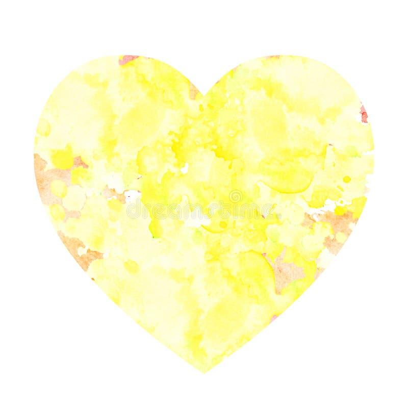 以心脏的形式水彩污点 库存例证