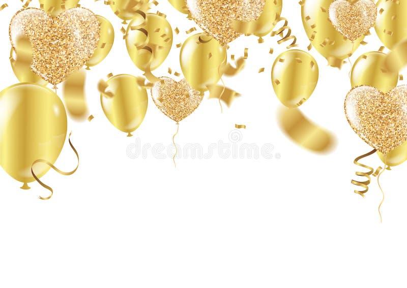 以心脏的形式金黄气球在背景 向量例证