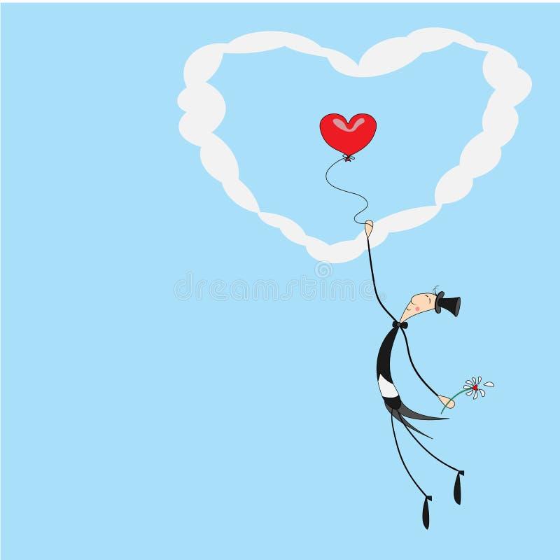 以心脏的形式,一个小快乐的绅士登高对天空对在一个热空气气球的云彩 传染媒介问候 皇族释放例证