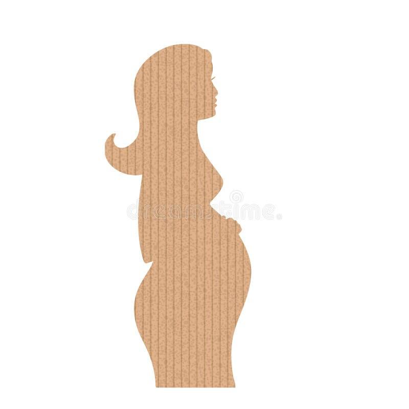 以怀孕妇女的形式纸板 向量例证