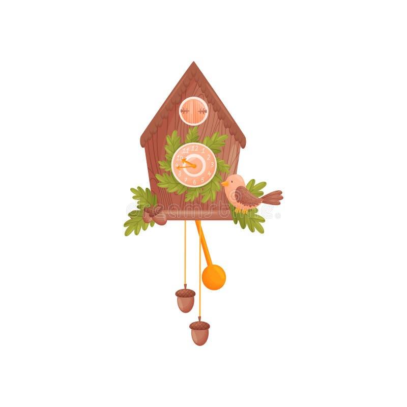 以房子的形式壁钟 用橡木叶子装饰 鸟在房子前面坐 r 库存例证