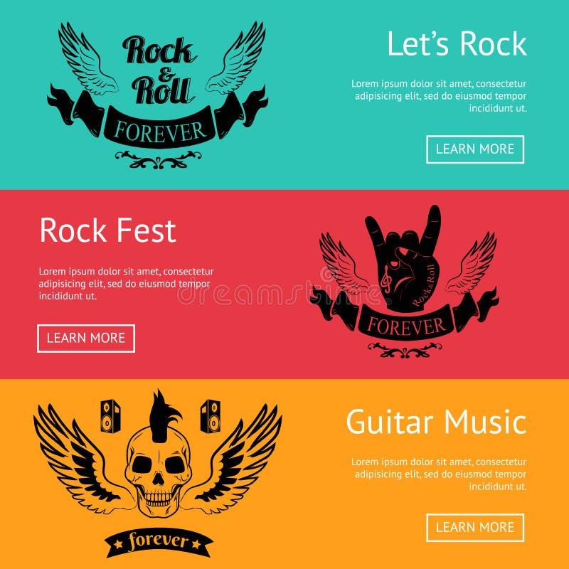 以摇滚主题的套与五颜六色的背景的海报 向量例证