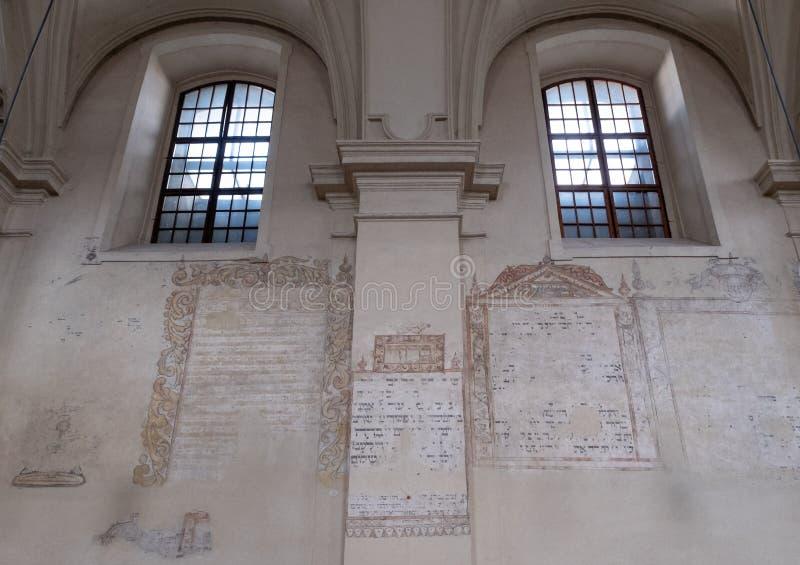 以撒会堂在卡济梅尔兹,历史的犹太处所的内墙克拉科夫,波兰 图库摄影
