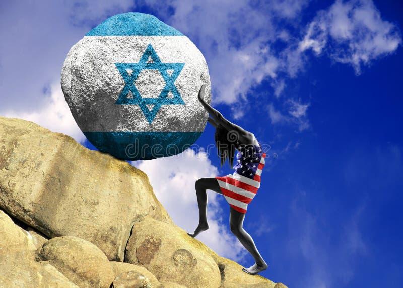 以旗子的剪影的形式,女孩,包裹在美国的旗子,在上面培养石头 向量例证