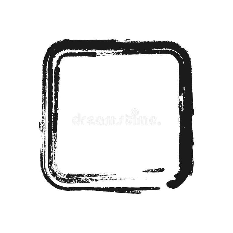 以正方形的形式黑刷子冲程 也corel凹道例证向量 库存例证