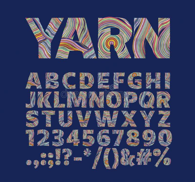 以毛线螺纹的形式创造性的字体 对装饰标签 免版税库存图片